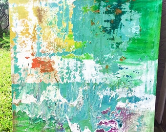 Large Abstract Acrylic on Canvas Painting