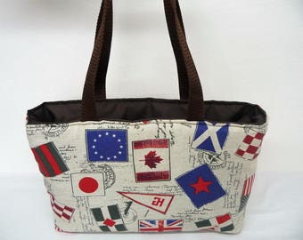 "Tote bag fabric fancy patterns ""Flags"" woman handbag"