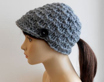 Ponytail Beanie, Newsboy Hat, Ponytail Hat, Visor Beanie, Chunky Knit, Pony Tail Hole, Handmade in Alaska Teen Womens Hat