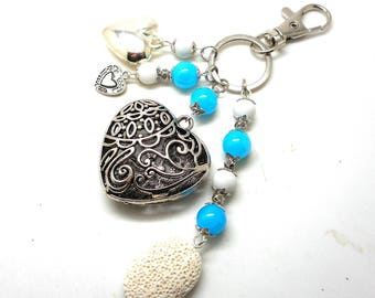 A scent! silver plated bag charm, turquoise beads and white heart charms