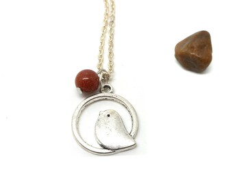 Silver Pendant Necklace bird and sand bead