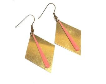 Brass enamel drop earrings pink