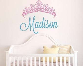 Personalized Name Wall Decal   Crown Name Decal   Baby Girl Name Decal    Nursery Wall