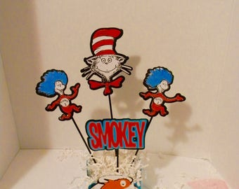 Dr. Seuss Birthday. Dr. Seuss Centerpieces, Dr. Seuss Table Decorations. Cat in the hat. Thing 1 thing 2