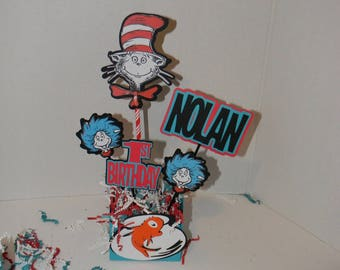 Dr. Seuss Birthday.  Twin or Triplet  Centerpieces, Cat in the hat, Thing 1, Thing 2 Decorations
