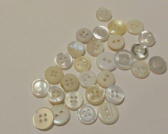 30 White and Cream Colored  Button  - #PDSP-00036