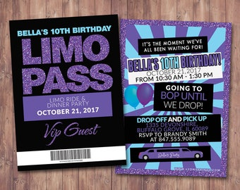 Limo invitations etsy vip pass limo pass birthday party 21st birthday backstage pass cocktail stopboris Image collections