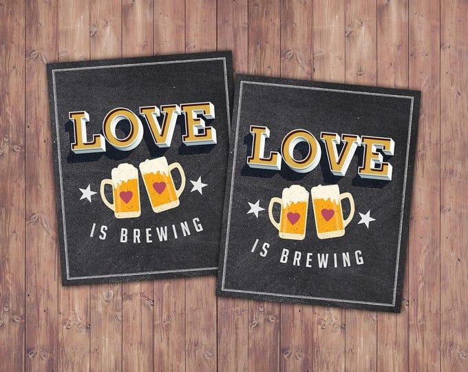 Favor label, sticker, Coed bridal shower- Beer bridal shower- couples bridal shower, Beer and BBQ, love is brewing