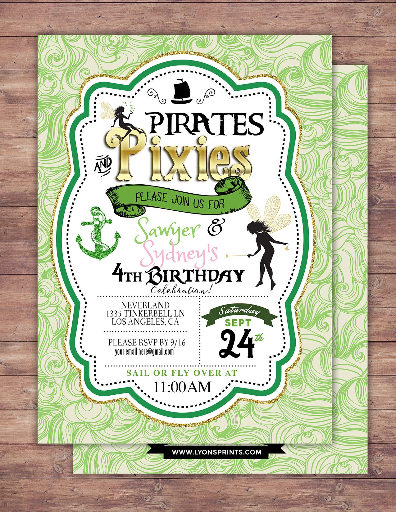 Pirates and Pixie, Party Invitations, Pirate, Tinkerbell, Pixie ...
