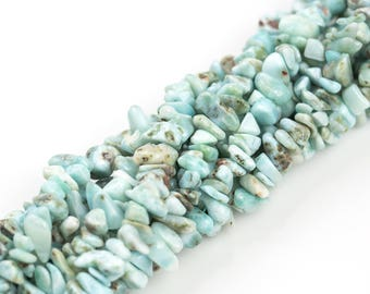 Natural LARIMAR Beads. Larimar Chips. 7-8mm. Full 16 inch Strand