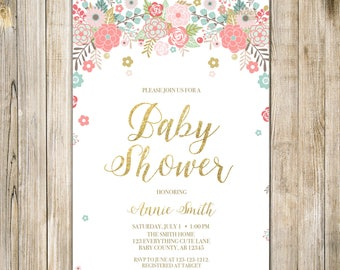 Digital FLORAL BABY SHOWER Invitation, Teal Pink Gold Glitters Baby Girl Shower Invite, Sip & See Open House, Printable Couples Shower LA24