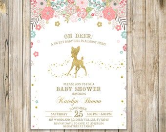 Oh DEER BABY SHOWER Invitation, Gold Teal Pink Baby Sprinkle Invite, Deer Baby Girl Shower Invites, Floral Deer Woodland, Rustic Garden