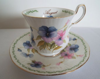 Vintage Rosina August Teacup and Saucer. 1960s English Tea Cup With Pink And Purple Pansies. Perfect for A Tea Party Or As A Birthday Gift