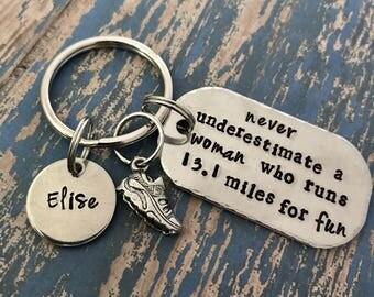 Never underestimate a women who runs 13.1 miles for fun key ring - keychain - running - half- marathon - run - finisher - 26.2 - runner