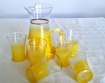 Vintage Mid Century Sunny Yellow Blendo Water Set Or Juice Set By West Virginia Glass Company