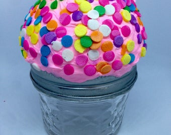 Cute Strawberry Sprinkled Cupcake Mason Stash Jar
