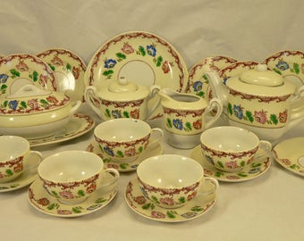 CHILD'S TEA and DISH Set: 26 pieces Floral Pattern Made in Japan