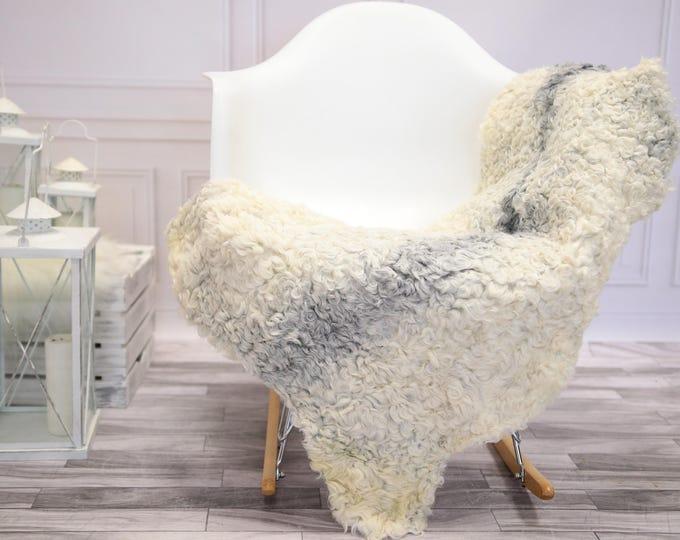 Genuine Rare Gotland Sheepskin Rug - Curly Fur Rug - Natural Sheepskin - Ivory Gray Sheepskin #DECGOT12