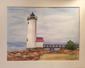 Original watercolor painting Lighthouse on Rocky Coast matted and signed
