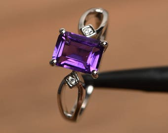 natural purple amethyst ring promise ring February birthstone emerald cut gemstone sterling silver