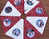 Quilted Christmas tree skirt with Rudolph the Red Nosed Reindeer characters, handmade