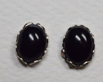 Black Onyx Oval Earrings, 8 x 6 mm Black Onyx Gemstones, Sterling Silver Oval Earrings