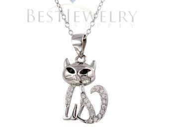 Sterling Silver .925 Rhodium Plated Small Cat Pendant with CZ Necklace