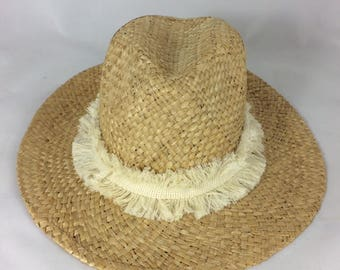 Natural Fringe Panama Hat, Macrame Fringe, Monogram For Free