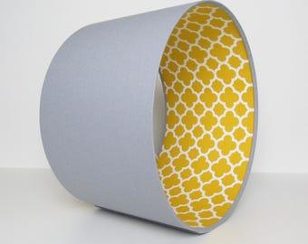 Grey Mustard Lampshade Geometric Quatrefoil by Riley Blake