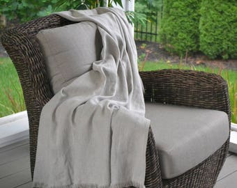 "Soft Linen Blanket/Throw 53"" x 70"" (140cm x 178cm) Free Shipping, Natural Undyed Organic Linen Flax, Bed Scarf, Beach Blanket, Ready to Ship"