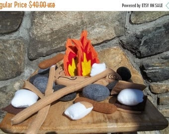 ON SALE READY To Ship Childrens Campfire for 2 : Teepee Toy . Pretend Play  Photo Prop Cookout , Bonfire , Smores Cookout. Pretend Food