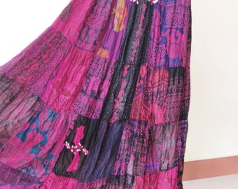 SALE 20% off and Free Gift !!! ** Red-Violet Patchwork Skirt Maxi Boho Hippie Gypsy Bohemian Summer Travel Skirt - No.1