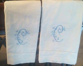 2 White Linen Tea Towels w/ Blue Initial C