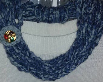 Crochet scarf necklace made with multicolored wool blend yarn