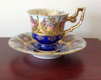 Fragonard cabinet cup and saucer . Alt Wein Bavarian. Blue.