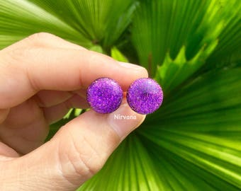 "New Domed Front Hot Purple Dichroic Glass Plugs 10g 8g 6g 4g 2g 0G 00g  7/16"" 1/2"" 9/16"" 5/8"" 3/4"" 7/8"" 1"" 2.5 mm 3 mm 4 mm 5 mm - 25 mm"