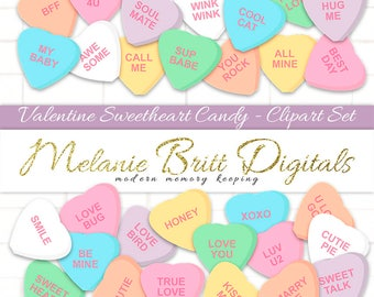 VALENTINE CANDY CLIPART, sweetheart candy clipart, candy heart clipart, conversation hearts, love quote hearts, printable candy hearts