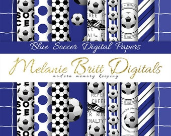 BLUE SOCCER digital paper pack, sports paper, soccer ball, soccer net, soccer words, scrapbook paper, printable soccer pdf, instant download