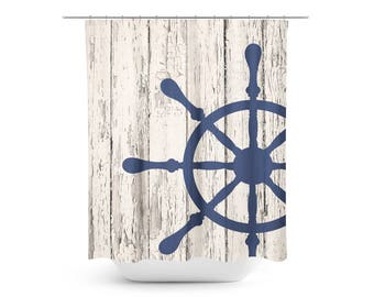 Nautical Wood Shower Curtain - Bathroom Decor - Nautical Bathroom Decor