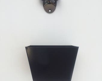 Wall mounted black bottle opener with cap collection tray