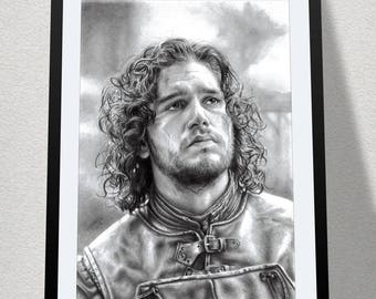 "11.69"" x 16.53"" drawing of Jon Snow in graphite on Bristol paper"