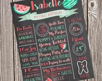 Watermelon Birthday Chalkboard
