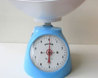 Vintage Salter Scales, Sky Blue, With Manufacturers Label, Made in England, Kitchenalia, Retro Kitchen, Vintage Kitchen, Beach House Decor