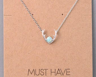 """Opal Stone Antler 16"""" Chain Dainty Necklace"""