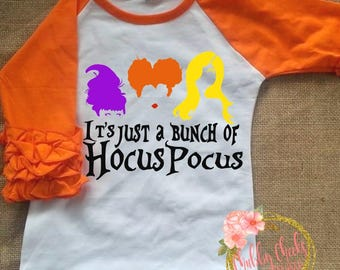 just a bunch of hocus pocus- sanderson sisters- baby girl- girls ruffle raglan- Halloween raglan- hocus pocus shirt