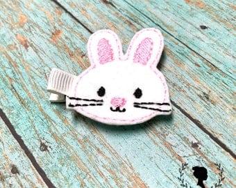 Bunny Feltie Clip - Easter Feltie Clip - Kids Barrette - Rabbit Barrette - White Clips - Bunny Hair Clips - Easter Basket Stuffer