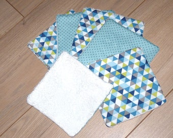 6 Lingettes lavables bébé/femme debarbouillantes/démaquillantes lavables tons vert/bleu éponge/coton