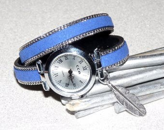 Double twist chain, Silver Dial with blue leather watch, bracelet charm plucks
