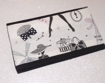 Checkbook holder white/black/pink little black dress