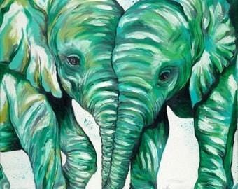 ON SALE Green Baby Elephants Print | Original Elephant Art by Aidan Weichard | Fine Art Print | African Animal Art | Nursery Wall Art |